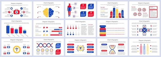 Pakiet szablonów prezentacji infografiki usług medycznych