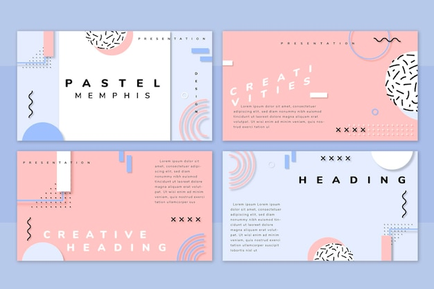 Pakiet szablonów prezentacji pastel neo memphis