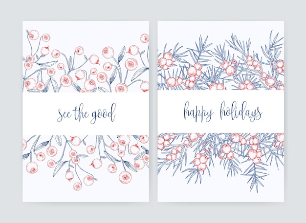 Pakiet szablonów ulotek lub pocztówek z leśną żurawiną i gałęziami jałowca z ręcznie rysowanymi jagodami z konturami na białym i świątecznym życzeniu