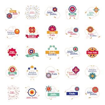 Pakiet szczęśliwy raksha bandhan ustawić ikony