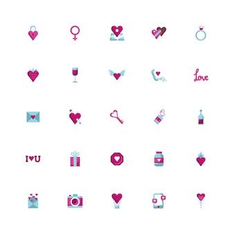 Pakiet szczęśliwych walentynek ustawić ikony