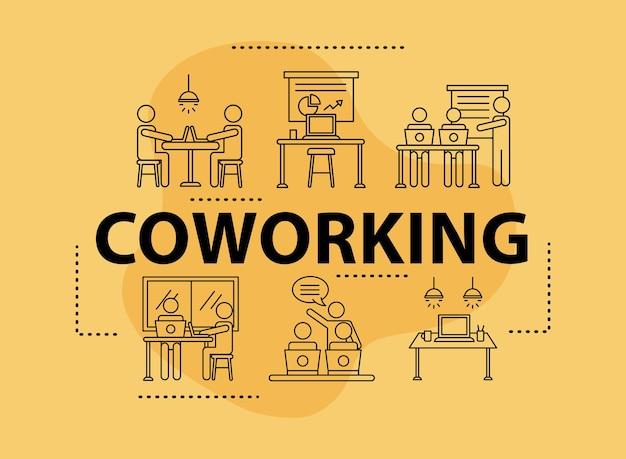 Pakiet sześciu awatarów pracowników coworking ikony stylu ilustracji projektowania ilustracji