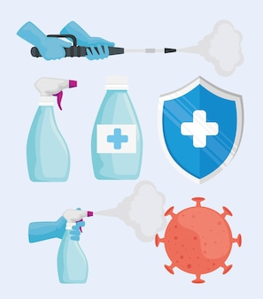 Pakiet sześciu dezynfekujących zestaw ikon ilustracji