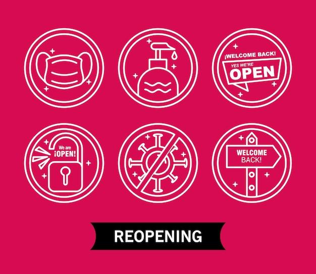 Pakiet sześciu etykiet do ponownego otwarcia, zawierający ikony i napisy w stylu linii