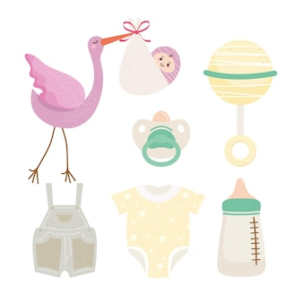 Pakiet sześciu obchodów baby shower zestaw ikon ilustracji