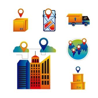 Pakiet sześciu usług dostawy online zestaw ikon wektor ilustracja projekt