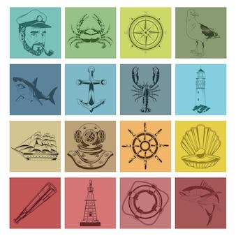 Pakiet szesnastu elementów morskich zestaw ikon ilustracji