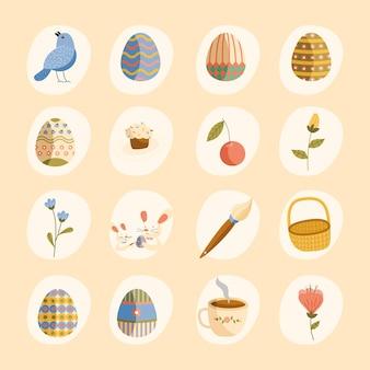Pakiet szesnastu szczęśliwych świąt wielkanocnych ikon projektowania ilustracji