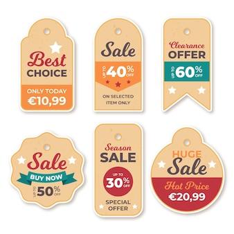 Pakiet tagów sprzedaży w stylu vintage