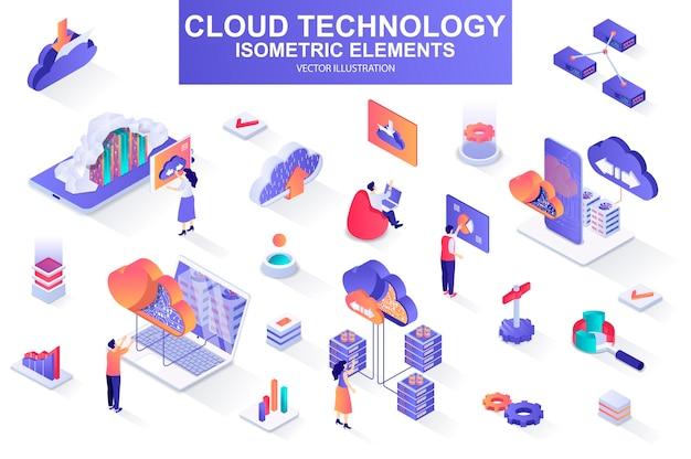 Pakiet technologii chmury ilustracji elementów izometrycznych