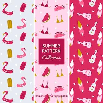 Pakiet trzech różowych wzorów letnich