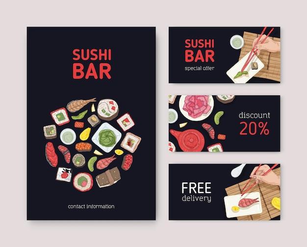 Pakiet ulotek, banerów internetowych lub kuponów do japońskiej restauracji z rękami trzymającymi sushi, sashimi i bułki z pałeczkami na czarnym tle. ilustracja wektorowa dla usługi dostawy azjatyckiej żywności.