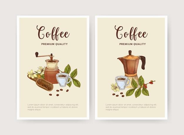 Pakiet ulotki, plakatu lub szablonu karty z filiżanką kawy, moka, miarką i młynkiem