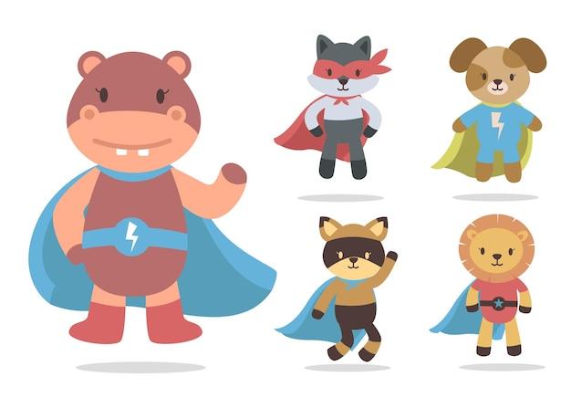 Pakiet uroczych kreskówek zwierząt z kolekcją postaci maskotek superbohaterów