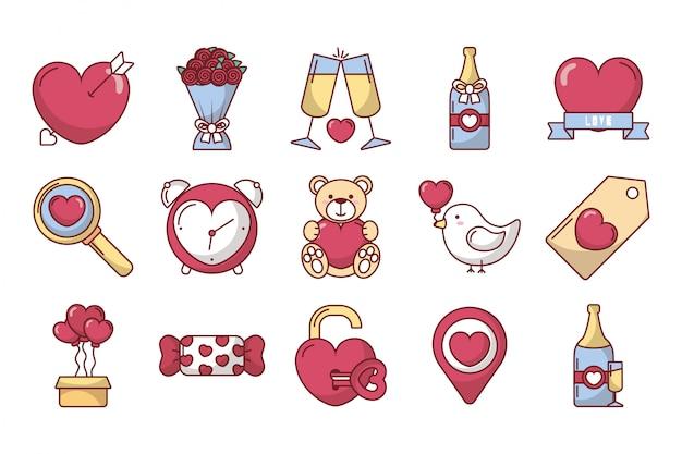 Pakiet walentynki ustawić ikony