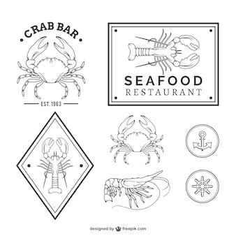 Pakiet wektor owoce morza w restauracji
