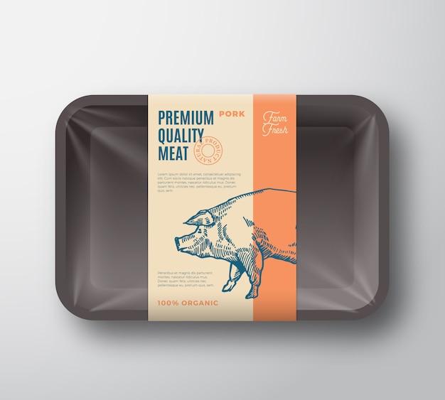 Pakiet wieprzowiny najwyższej jakości. streszczenie wektor mięso taca z tworzywa sztucznego pojemnik z pokrywą celofan.