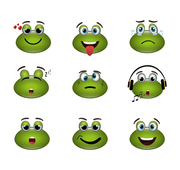 Pakiet wyrażeń emotikonów żab