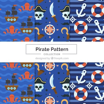 Pakiet wzorów elementów pirata w płaskim stylu