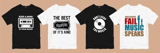 Pakiet wzorów koszulek. muzyka t shirt projektuje slogany cytaty