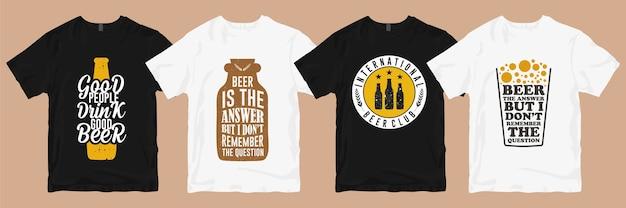 Pakiet wzorów koszulek. projekt koszulki piwa z hasłami reklamowymi