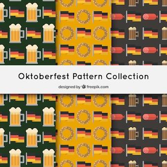 Pakiet wzorów oktoberfest w płaskim stylu