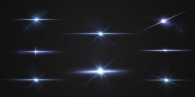Pakiet z niebieskimi poziomymi podświetleniami laserowe wiązki neonowe poziome jasnoniebieskie belki niebieska gwiazda
