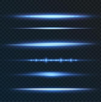 Pakiet z niebieskimi poziomymi podświetleniami laserowe wiązki neonowe poziome jasnoniebieskie belki