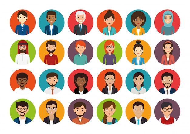 Pakiet z zestawem twarzy ludzi biznesu
