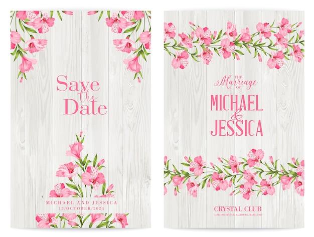 Pakiet zaproszeń z tropikalnymi kwiatami i flamingami.