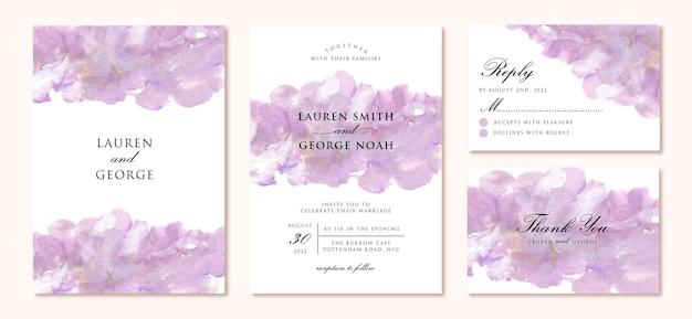 Pakiet zaproszenia ślubne z nowoczesnym fioletowym malarstwem abstrakcyjnym