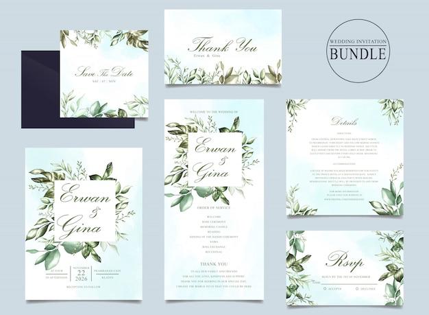 Pakiet zaproszenia ślubne z zielonym liściem szablonu