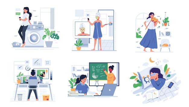 Pakiet ze stylem życia ludzi w domu w postaci z kreskówki, płaska ilustracja