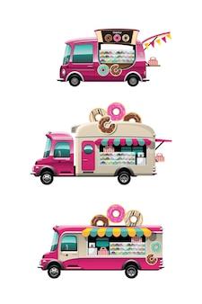 Pakiet zestaw ciężarówki z jedzeniem ze sklepem z przekąskami pączków i modelu na dachu samochodu, rysowanie płaskiej ilustracji stylu na białym tle