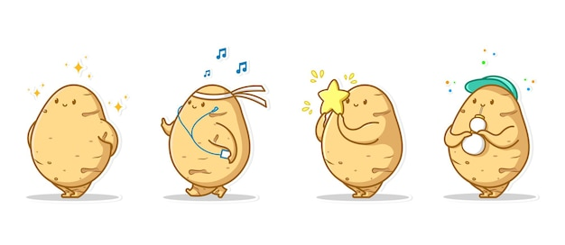 Pakiet zestaw emotikon i ikona gest urocza postać warzywa ziemniaków