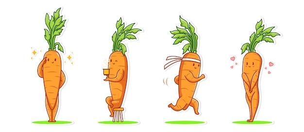Pakiet zestaw emotikonów i ikon gestów słodki charakter warzywa marchewki