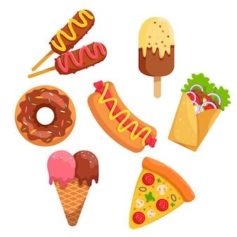 Pakiet zestaw fast foodów lub fast foodów