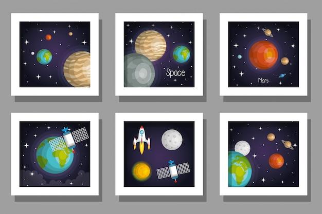 Pakiet zestaw kart układu słonecznego