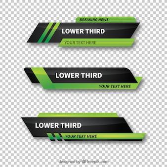 Pakiet zielonych abstrakcyjnych niższych części trzecich