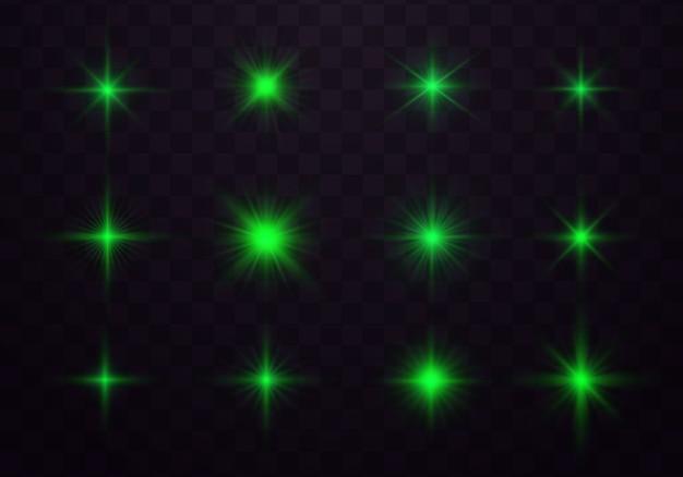 Pakiet zielonych odblasków poziomych soczewek. iskra, wybuch gwiazdy.