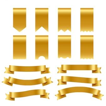 Pakiet złota wstążki i etykiety