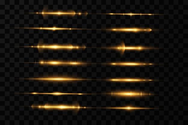 Pakiet złotych flar poziomych z soczewkami wiązki laserowe poziome promienie światła świecące przezroczyste światło wektorowe