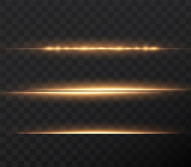 Pakiet złotych flar poziomych z soczewkami wiązki laserowe poziome promienie świetlne piękne rozbłyski świetlne