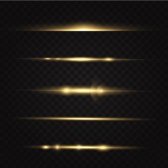Pakiet żółty poziome flary obiektywu na czarnym tle