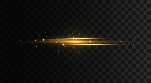Pakiet żółtych poziomych flar soczewkowych wiązki laserowe poziome linie promieni świetlnych błyski błyszczy