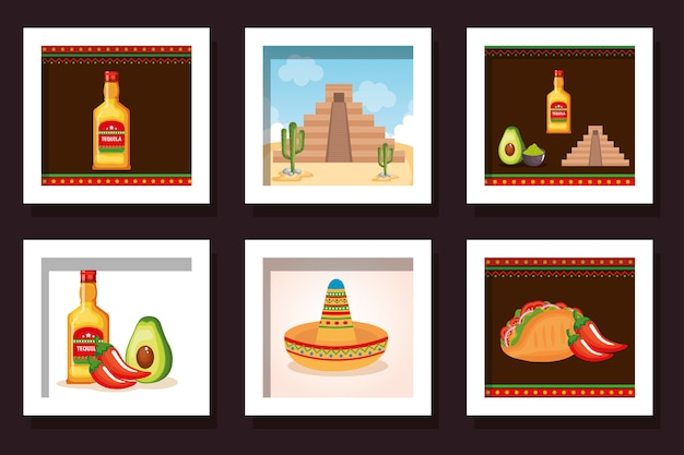 Pakiet żywności z ikonami meksyk tradycyjnych