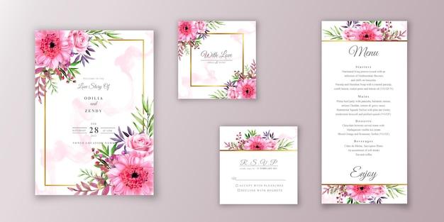 Pakiety szablonów zaproszenia ślubne z kwiatowym wzorem akwareli