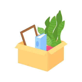 Pakowanie rzeczy w pudełko do przenoszenia półpłaskiego obiektu wektorowego. organizacja przedmiotów. odejście pracownika z miejsca pracy wyizolowało nowoczesną ilustrację w stylu kreskówki do projektowania graficznego i animacji