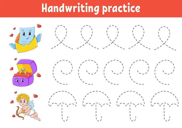 Pakteks pisma ręcznego. arkusz rozwijający edukację. strona aktywności. walentynki.