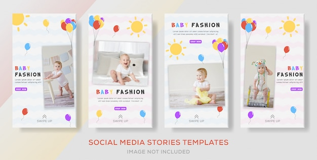 Pakuj historie bannerów publikowane w sklepie z odzieżą dziecięcą.